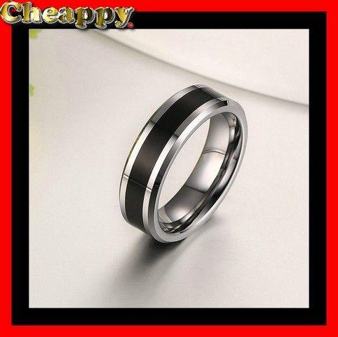 """Mooie Wolfraam ring zilverkleur ingelegd met koolstof """"Rodrick"""" - Cheappy"""