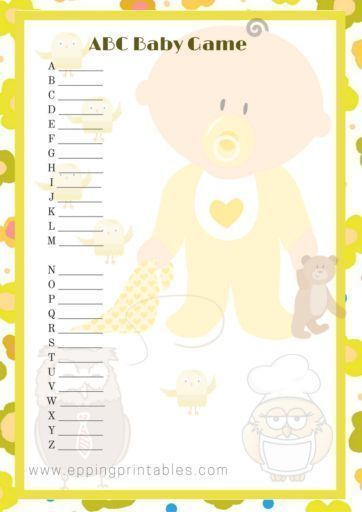 Baby Shower Game ABC with yellow and light brown colours gender neutral. #BabyShower Game, #Baby Shower Ideas, #BabyShower Decorations, #BabyShower Theme, #YellowBabyShower, #OwlBabyShower, #GenderNeutralBabyShower, Baby Shower Yellow Owl, Baby Shower ABC Game, Gender Neutral Baby Shower, Owl Baby Shower