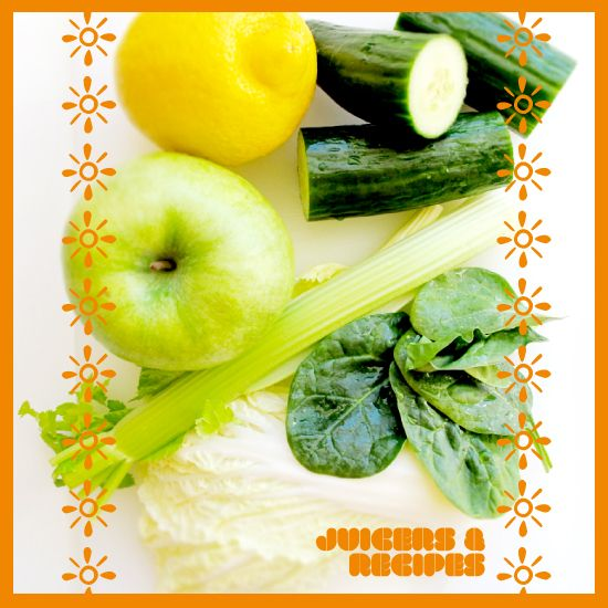 The Juicer Recipe for Green Lemonade: 1 Green Apple, 2cups Spinach, 2cups Kale leaves, 1/2 Cucumber,4 Celery Stalks, 1/2 Lemon
