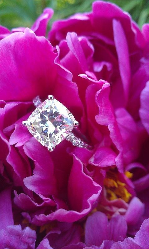 2+ carat cushion cut diamond engagement ring