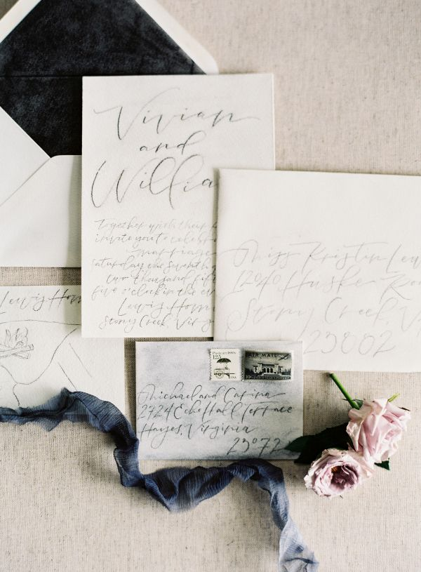 Dark Gray Wedding Stationery | photography by http://www.michaelandcarina.com