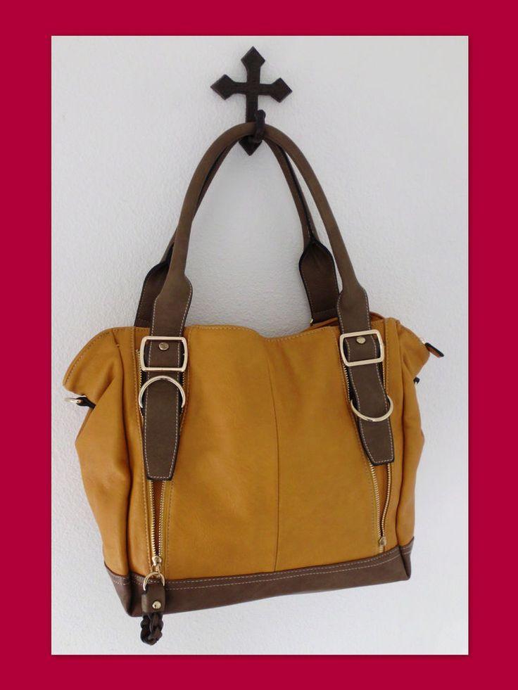 DAVID JONES Faux Leather Gold Brown Zip-Top Tote Handbag Shoulder Crossbody Bag #DavidJones #TotesShoppers