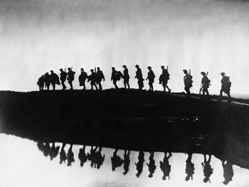 Australian troops moving up the line near to Hooge by the Menin Road near Ypres, 5th October 1917.