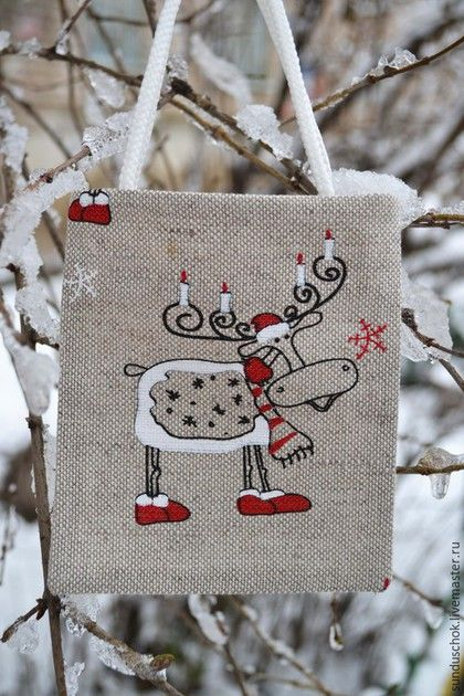 Новый год 2016 ручной работы. Ярмарка Мастеров - ручная работа. Купить Новогодняя подарочная сумочка «Лосик со свечками». Handmade.
