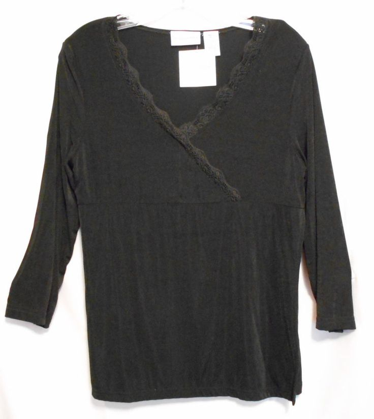 Jaclyn Smith Black Slinky Wrap Top Size Small Deep V with Lace Nylon #JaclynSmith #Wrap #Career
