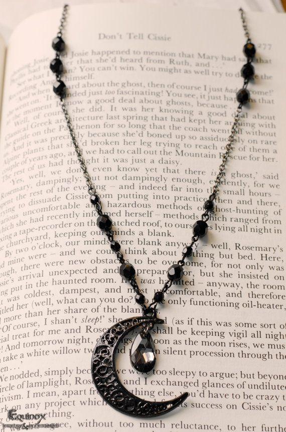 Occult Moon  Black Filigree Moon  Swarovski by VictoriaEquinox