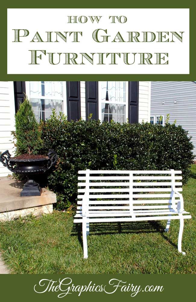 How to Paint Metal Garden Furniture - Graphics Fairy. Great DIY Home Decor Tutorial for giving new life to corroded furniture for your yard!