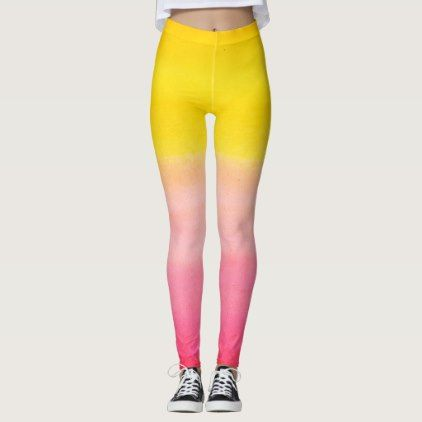 Ombre Watercolor Custom Pink & Yellow Leggings - monogram gifts unique design style monogrammed diy cyo customize