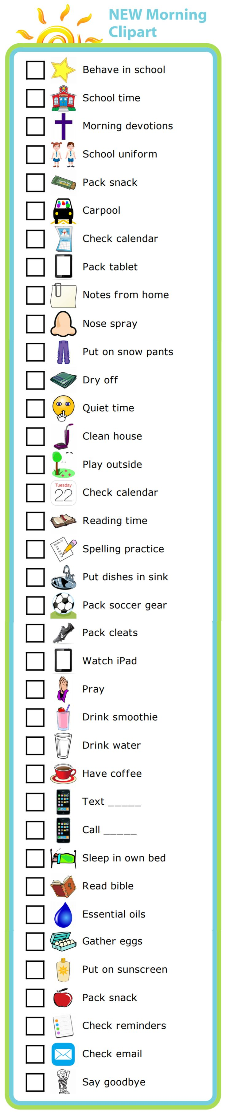 "37 new images for the morning routine activity, including the much requested ""sleep in your own bed""! Use them to create your own, custom morning routine checklist."