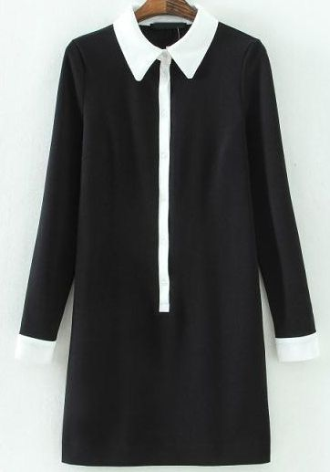 Black Contrast Lapel Long Sleeve Slim Dress - abaday.com