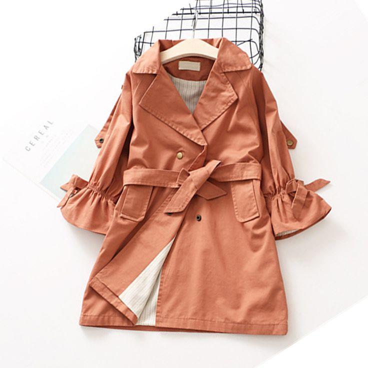Европейская Осень Дети Куртки Обувь для девочек Классическая ветровка детская верхняя одежда для маленьких девочек длинное пальто 2t 7 купить на AliExpress