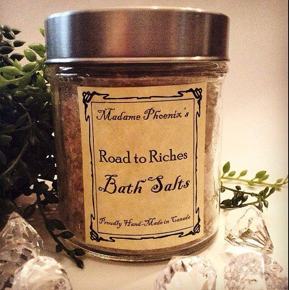 a luxuriant, warm and inviting bath salt made from my special proprietary salts blend, pure essential oils and organic, fairly traded herbs that smells delicious and works like a charm! Open the doors to wealth and prosperity and set your feet on the road to riches! Each element of this bath has been carefully chosen for its magical associations of money drawing, wealth and prosperity, drawn from my years of experience.