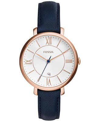 Fossil Women's Jacqueline Blue Leather Strap Watch 36mm ES3843 - Women's Watches - Jewelry & Watches - Macy's