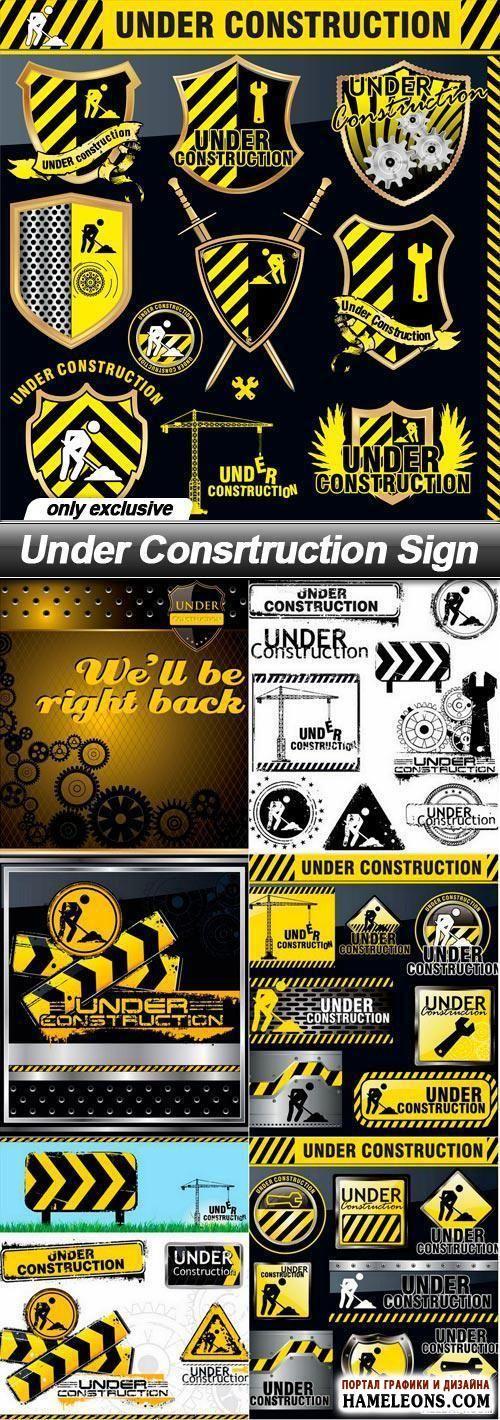 Строительные, ремонтные, дорожные работы - в векторе предупреждающие таблички…