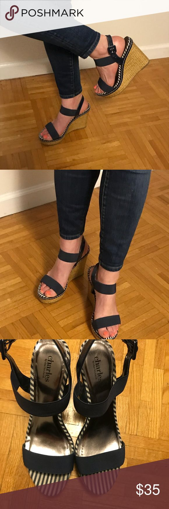 Charles David Navy wedge sandals Sz 9 Charles David wedge sandals. Navy Straps are thick elastic material. Shoes are a 9 - but I'd say better for 8.5. Worn 3 times. Charles David Shoes Sandals