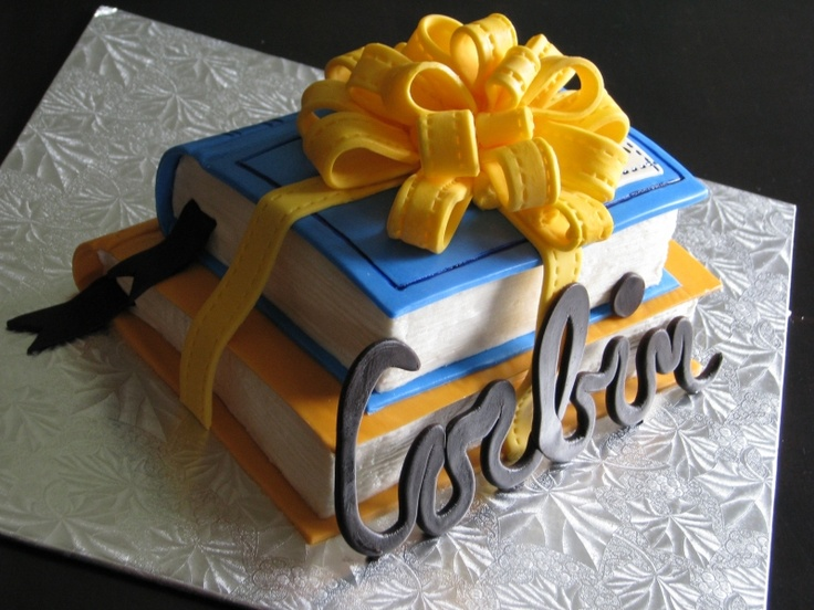 book cake wrapped in a bow