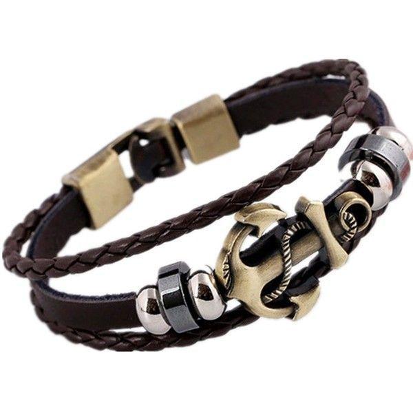Rock Multilayer Handmade Leather Nautical Anchor Bracelets Men Retro... ($7.90) ❤ liked on Polyvore featuring men's fashion, men's jewelry, men's bracelets, mens woven bracelets, mens charm bracelet, mens bracelets, mens anchor bracelets and mens watches jewelry