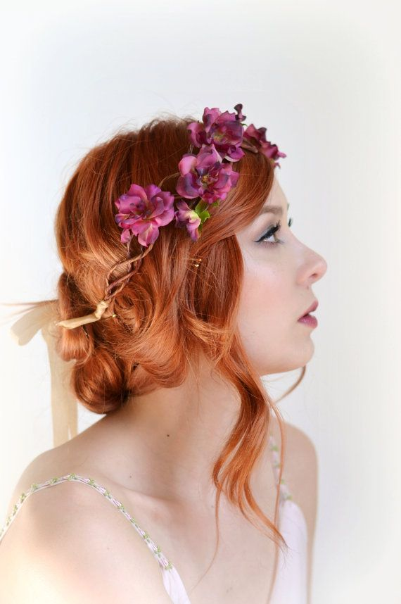 Bridal flower crown, rose crown, pink flower headpiece, floral headband, wedding hair accessories - Freya