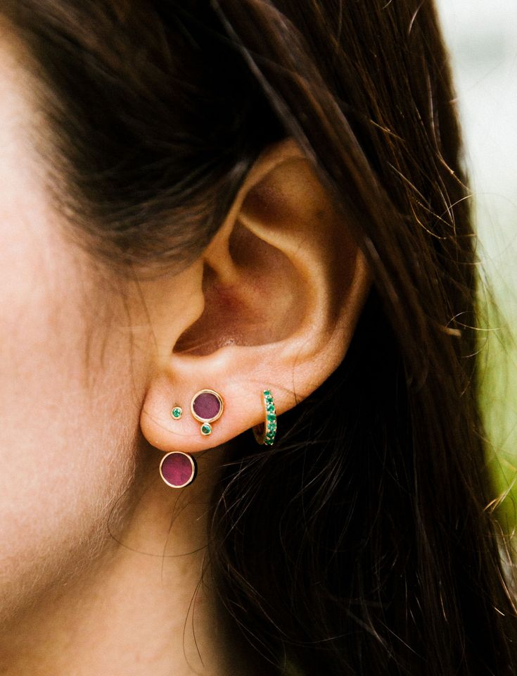 Mars Ruby Earrings with an Emerald Halo Hoop.  #curatedear #earparty