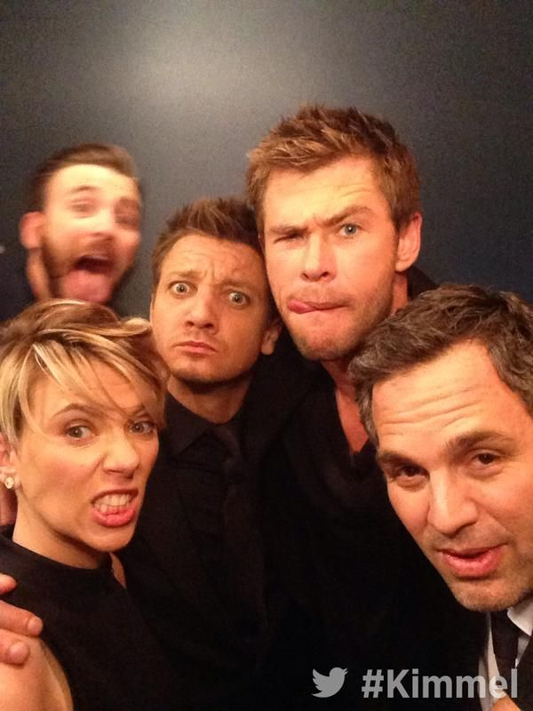 JimmyKimmelLive: Backstage at #Kimmel. With Chris Hemsworth Mark Ruffalo Chris Evans Scarlett Johansson and Jeremy Renner #Avengers