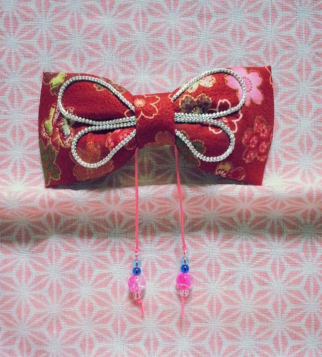 *New*【浴衣髪飾り】和柄あそび♪リボン(赤*桜ミックス) by jillcoco-801 アクセサリー ヘアアクセサリー