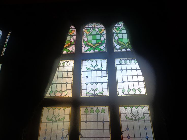 """Philharmonic Dining Rooms, Photograph taken of the """"Stained Glass"""" windows."""