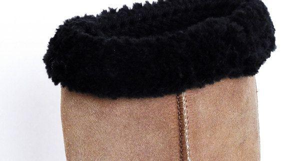 Boot Cuffs Faux Fur Trimmed Black Crochet by Yarnettes on Etsy