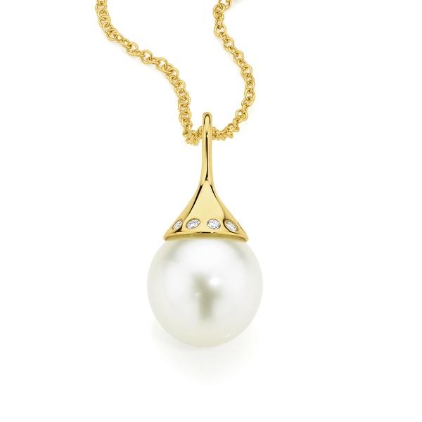Perl'eco 9ct Yellow Gold Cultured South Sea Pearl & Diamond Pendant