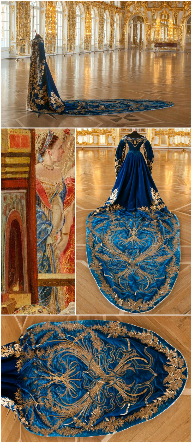 """Court gown belonging to Grand Duchess Xenia Alexandrovna (sister of Tsar Nicholas II), late 19th - early 20th century. Collection of the State Museum """"Tsarskoye Selo."""" Photos via the Tsarskoye Selo State Museum-Preserve on Facebook. Detail from Georges Becker's 1888 painting depicting the coronation of Tsar Alexander III and Empress Maria Fyodorovna, May 15, 1883, collection of the State Hermitage Museum (via http://hermitage.guide/costume/costume1.html)."""
