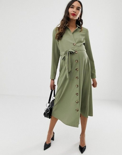 664aedc80ba15 DESIGN Maternity midi shirt dress with buttons in 2019 | White ...