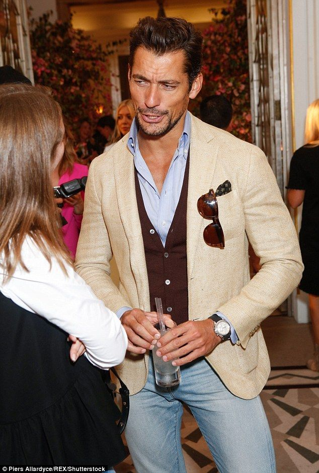 Model behaviour: Model David Gandy too attended the exclusive fashion bash - looking dapper in a cream blazer