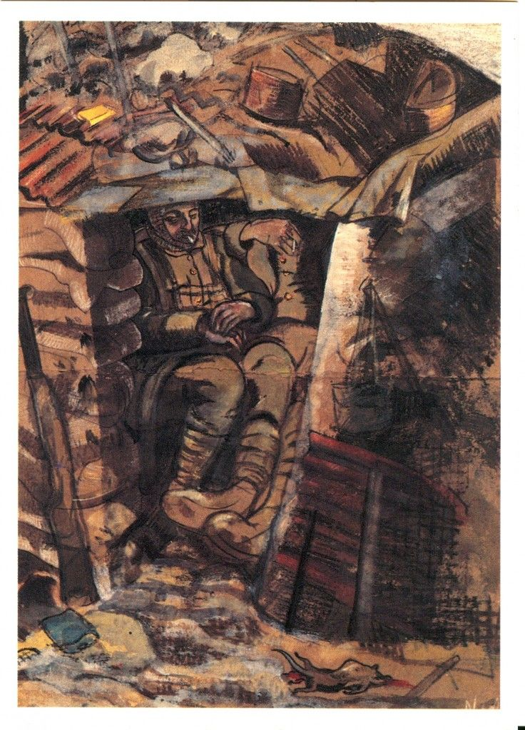'Existence' by Paul Nash (1917).  Nash said of his work as an official war artist: 'I am no longer an artist, I am a messenger to those who want the war to go on for ever… and may it burn their lousy souls'
