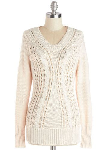 Dynamic Dissertation Sweater - Knit, Mid-length, Sheer, Cream, Knitted, Long Sleeve, Better, White, Long Sleeve, Patch, Scholastic/Collegiat...