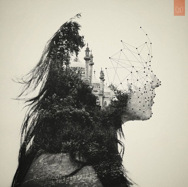 dan mountford portraits///double exposures...could create double exposures and combine with geometric elements screen printed