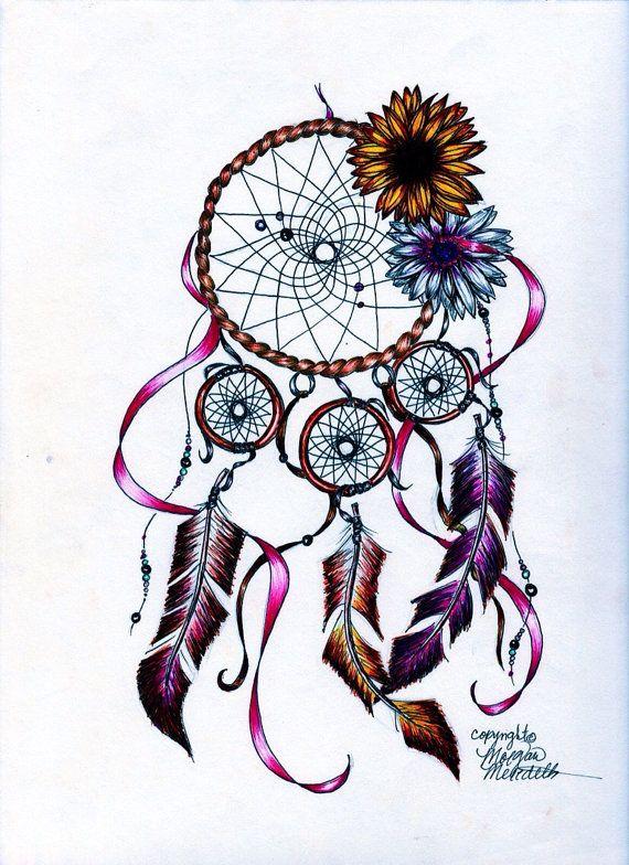 Lavender Flower Dream Catcher Tattoo: Daisy Dream Catcher By MorgansCanvas On Etsy