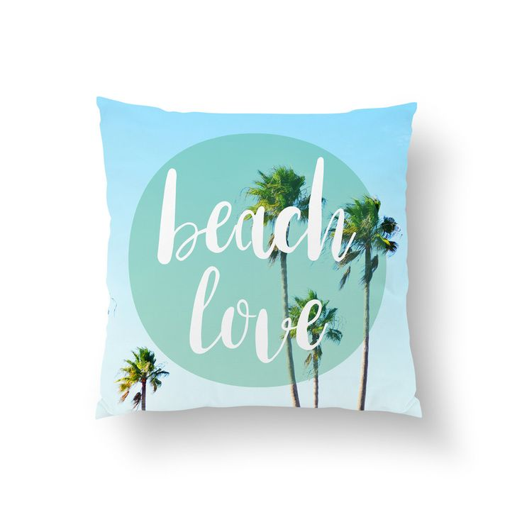 """Coastal home flair for your surf style interiors, this stylish throw pillow  cover features a lush backdrop of blue sky and green palm trees on both  sides! Available in several different sizes to choose from, this chic beach  home decor addition features the words """"Beach Love"""" adorned on both sides  as well!   *Available in 14x14, 16x16, 18x18, 20x20 and 26x26 Inches **Pillow Insert Option Available"""