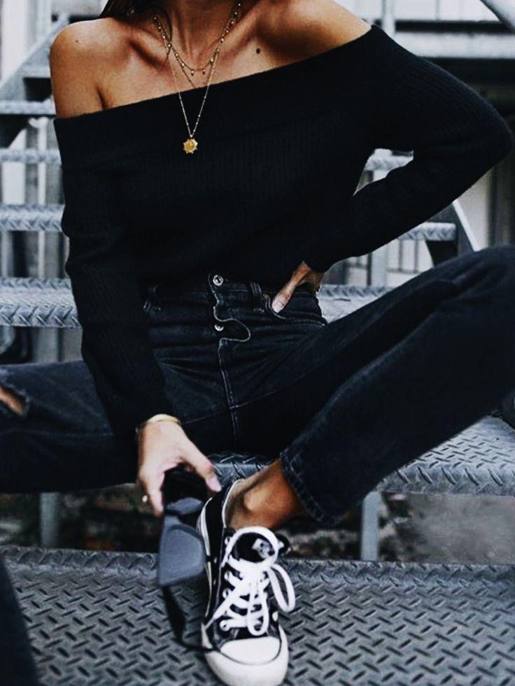 toda inspiração roupa preta   – Frauen Sommer Mode