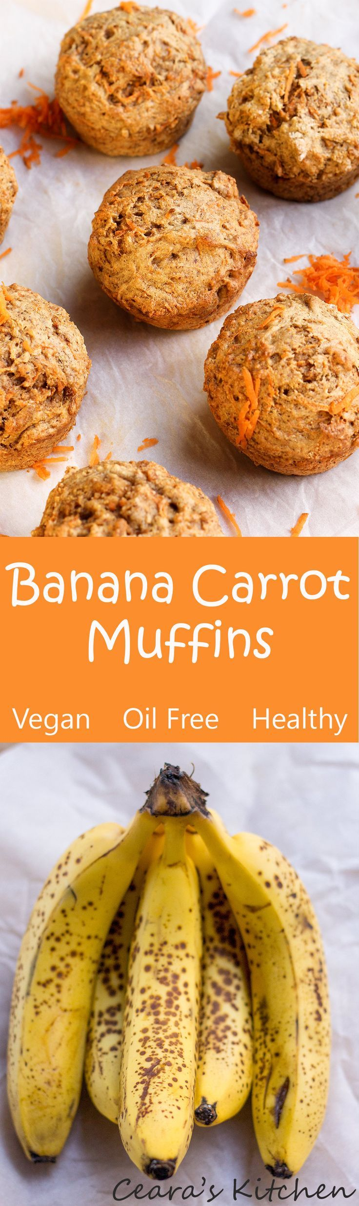 Healthy Banana Carrot Muffins are soo incredibly moist, soft and filled with banana flavor! The perfect vegan snack! Naturally sweetened + oil free - change flour for low fodmap,