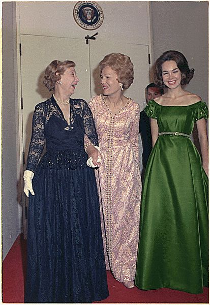 1/18/1973: First Lady Pat Nixon and her daughter Julie Nixon Eisenhower with former First Lady Mamie Eisenhower (and grandmother to Julie's husband David).