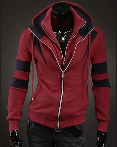 New Men's Winter Slim Hooded Sweatshirt Hoodie Coat Jacket Outwear Double  Zipper