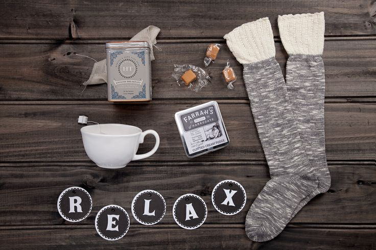 Lazy Sunday- available now at thespecialdeliverycompany.com.au Harney & Sons Fine Teas 'English Breakfast' blend (20 sachets), Papinelle long and warm cotton nylon elastine bed socks in Charcoal (one size fits most), Farrah's Clotted Cream Fudge Tin (100g) and a Perfect Pieces Toulouse Mug.