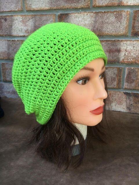 Lime Green Crocheted Beanie