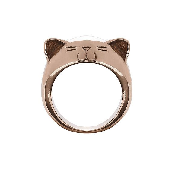 Rose Gold Plated Silver Big Kitty Ring.