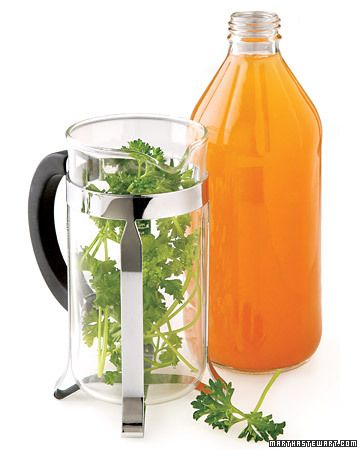 Crazy Beauty Tricks That Really Work    Apple-Cider Vinegar    The high acidity of apple-cider vinegar makes skin inhospitable to blemish-causing bacteria. Place a handful of parsley (a skin-clarifying herb) into a French press and cover it with 1/2 cup of boiling water. Steep for 10 minutes, then plunge and let the liquid cool. Transfer to a spray bottle along with a splash of vinegar and four drops of tea tree oil (an antiseptic), shake well, and spritz on a freshly cleansed face. Store the spray bottle in the fridge.    Next: Beer: French Press, Skin Care, Beauty Tips, Cleansed Face, Tea Tree Oil, Apple Cider Vinegar