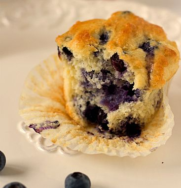 Blueberriest Muffins Recipe - I substituted nonfat Greek yogurt for the sour