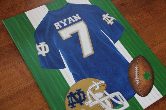 Personalized Notre Dame Jersey Football Canvas Painting