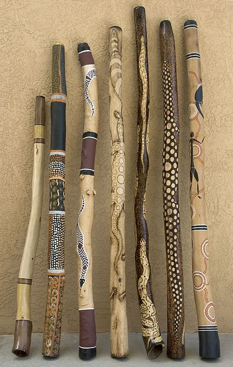 Aboriginal style decorations. . . . ღTrish W ~ http://www.pinterest.com/trishw/ . . . . #pyrography #wood_burning #painted_sticks