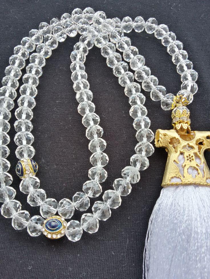 kristal taşlı, altın kaplamalı tesbih