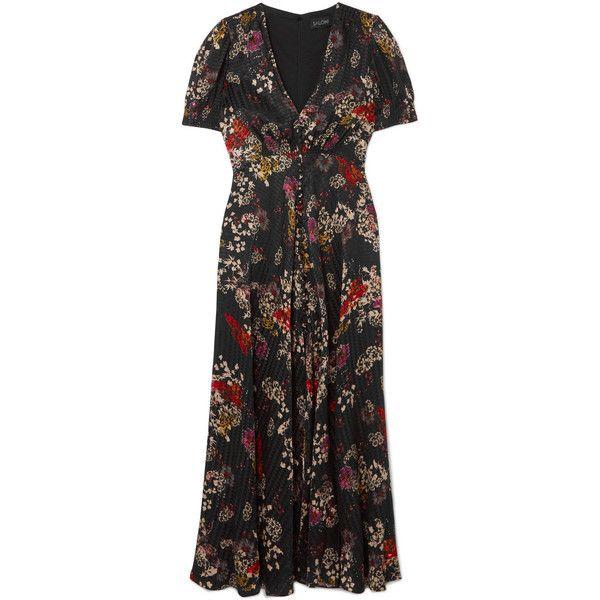 Saloni Lea floral-print silk-jacquard maxi dress (44.635 RUB) ❤ liked on Polyvore featuring dresses, floral print dress, multicolor maxi dress, floral tea dress, multi color maxi dress and button up maxi dress