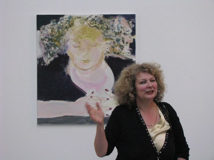 Marlene Dumas in front of self-portrait The Sleep of Reason, 2009